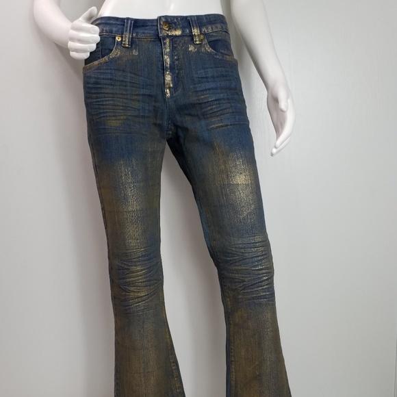 Cache Denim - Cache Gold Finish Flare Leg Size 6 Jeans 2448